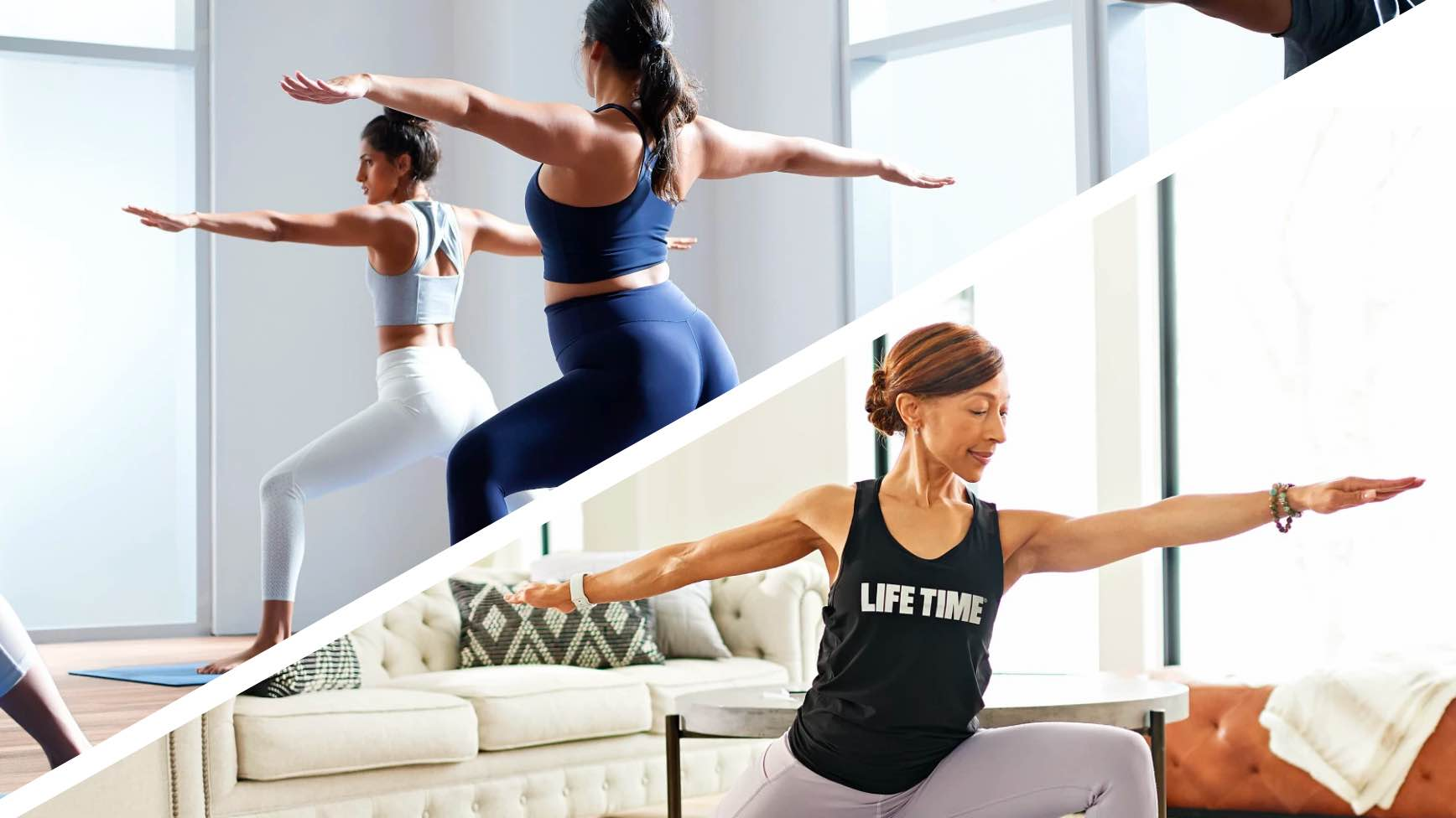 Split image of women doing yoga in a studio and a woman taking an on demand class at home with Life Time