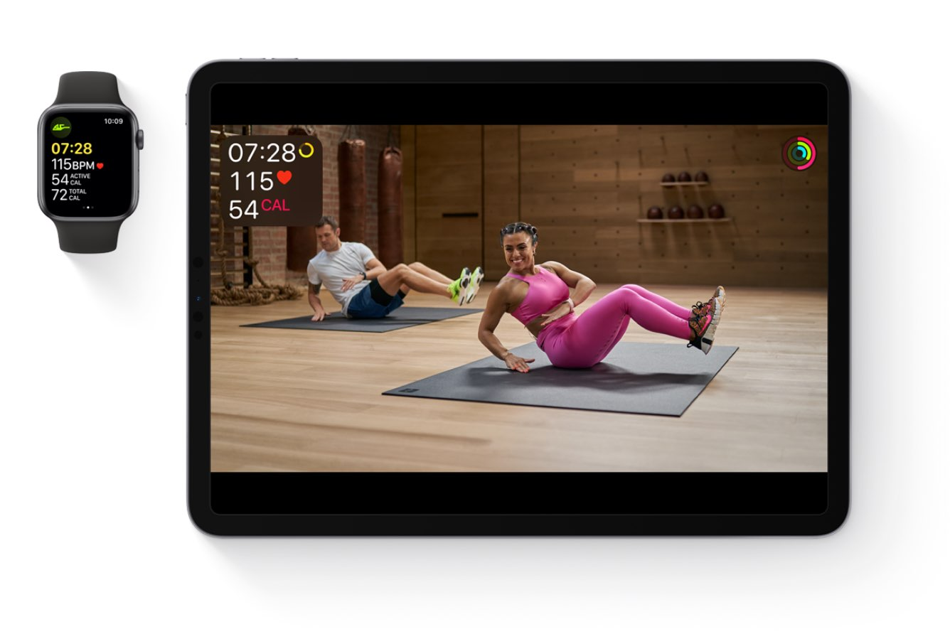 iPad and Apple Watch with Apple Fitness+ images and stats