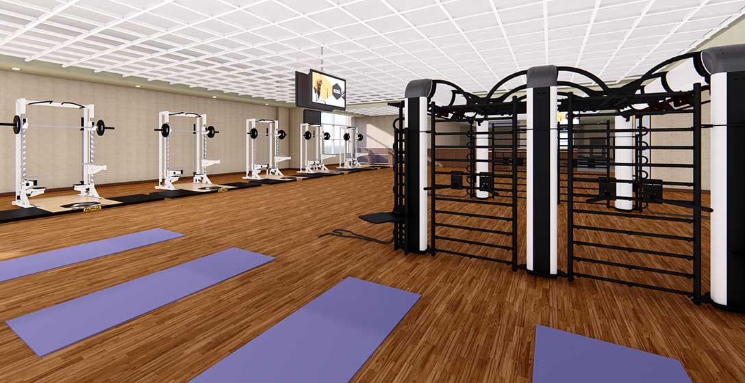 The fitness floor of a Life Time club