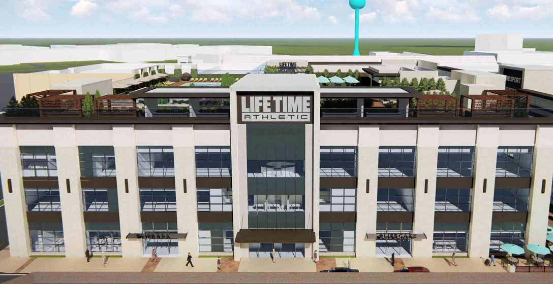 Animated video depicting exterior club features, including the parking lot and rooftop pool deck