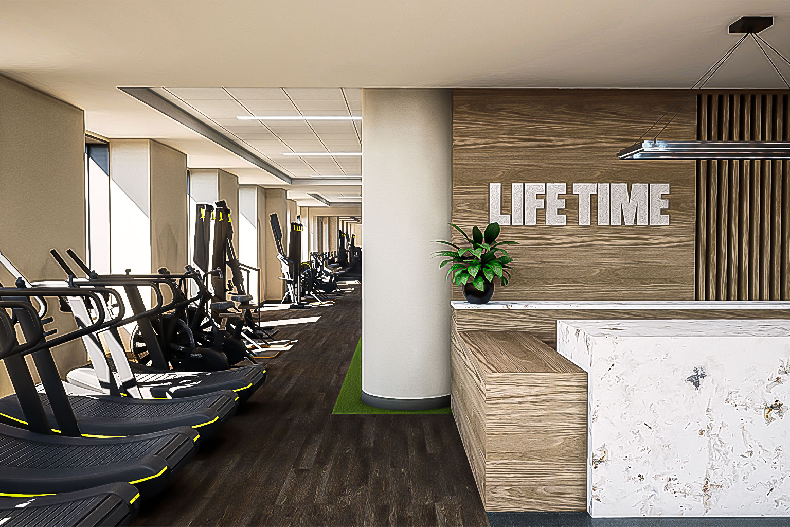 Lobby area with treadmills at Life Time Battery Park