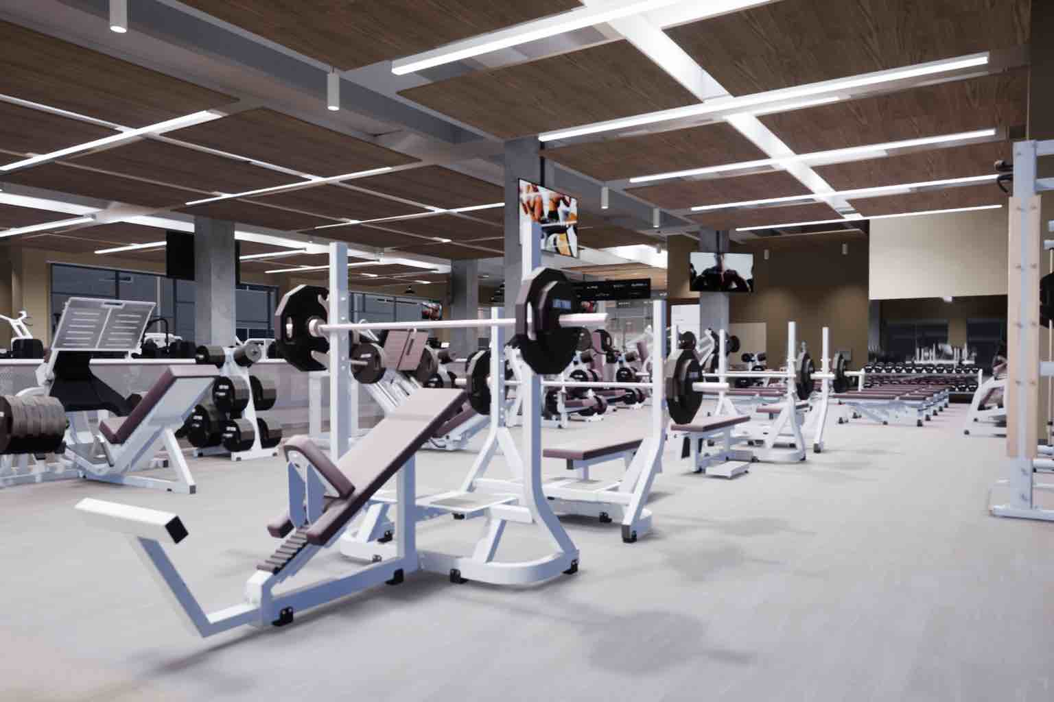 workout machines on the fitness floor