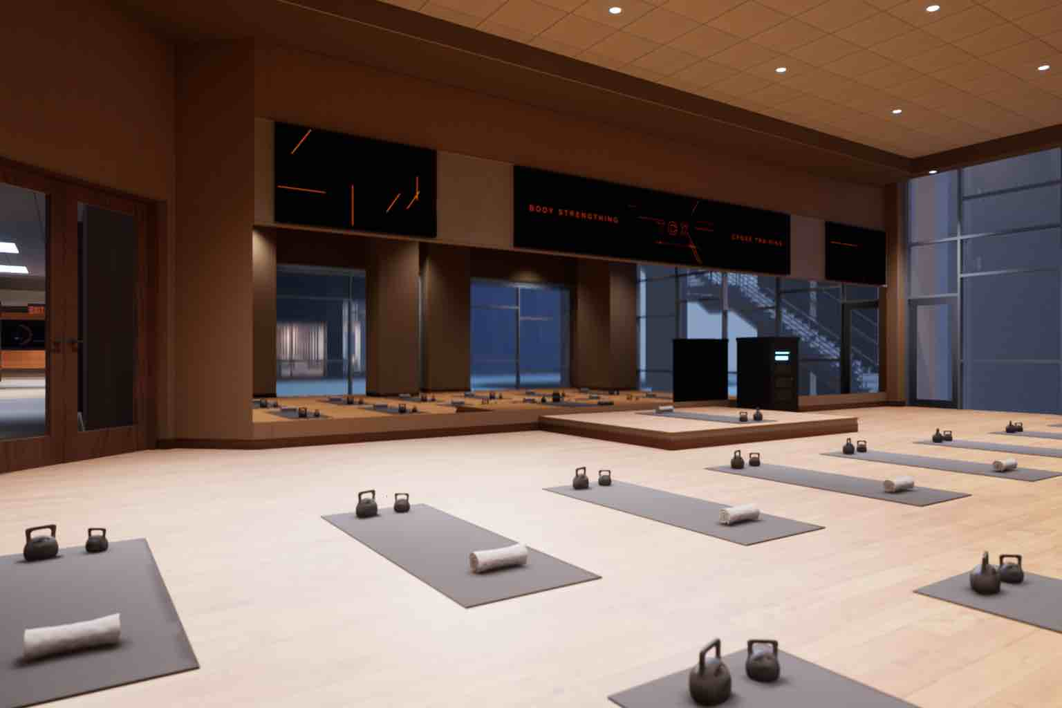 yoga mats laid out in a studio