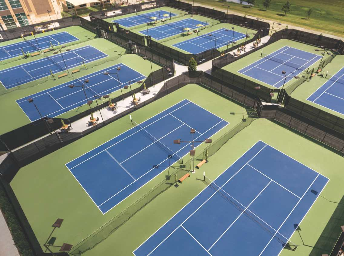 Aerial view of ten outdoor tennis courts at Life Time