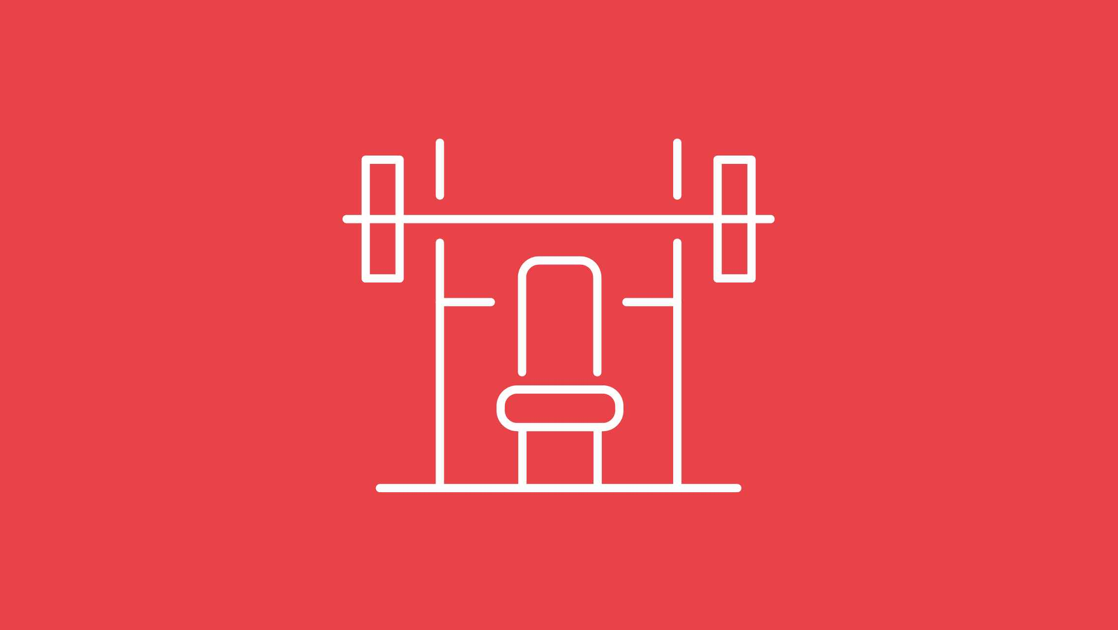 An illustration of a weight-lifting bench and rack on a red background.