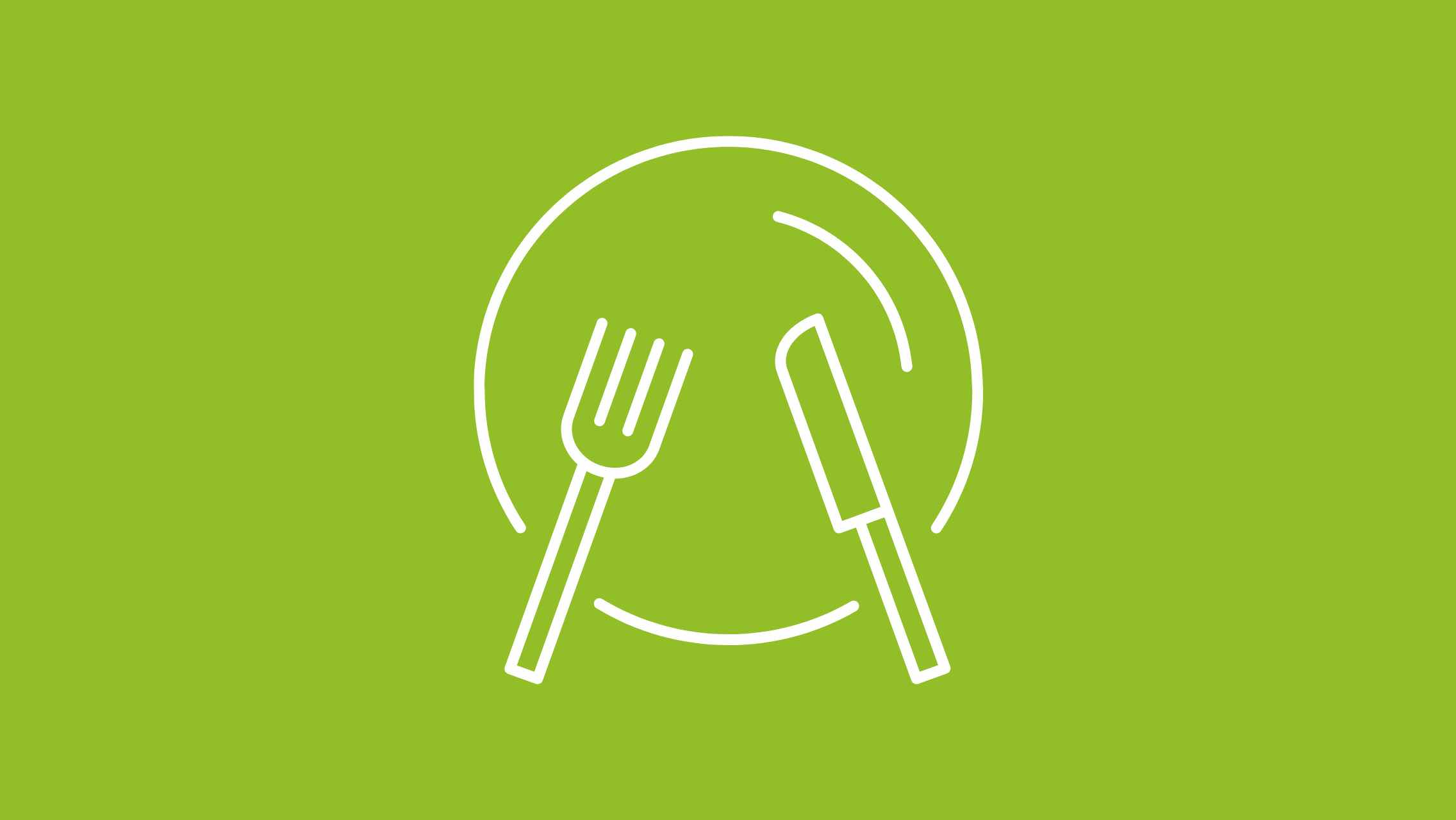 An illustration of a plate, fork and knife on a green background.