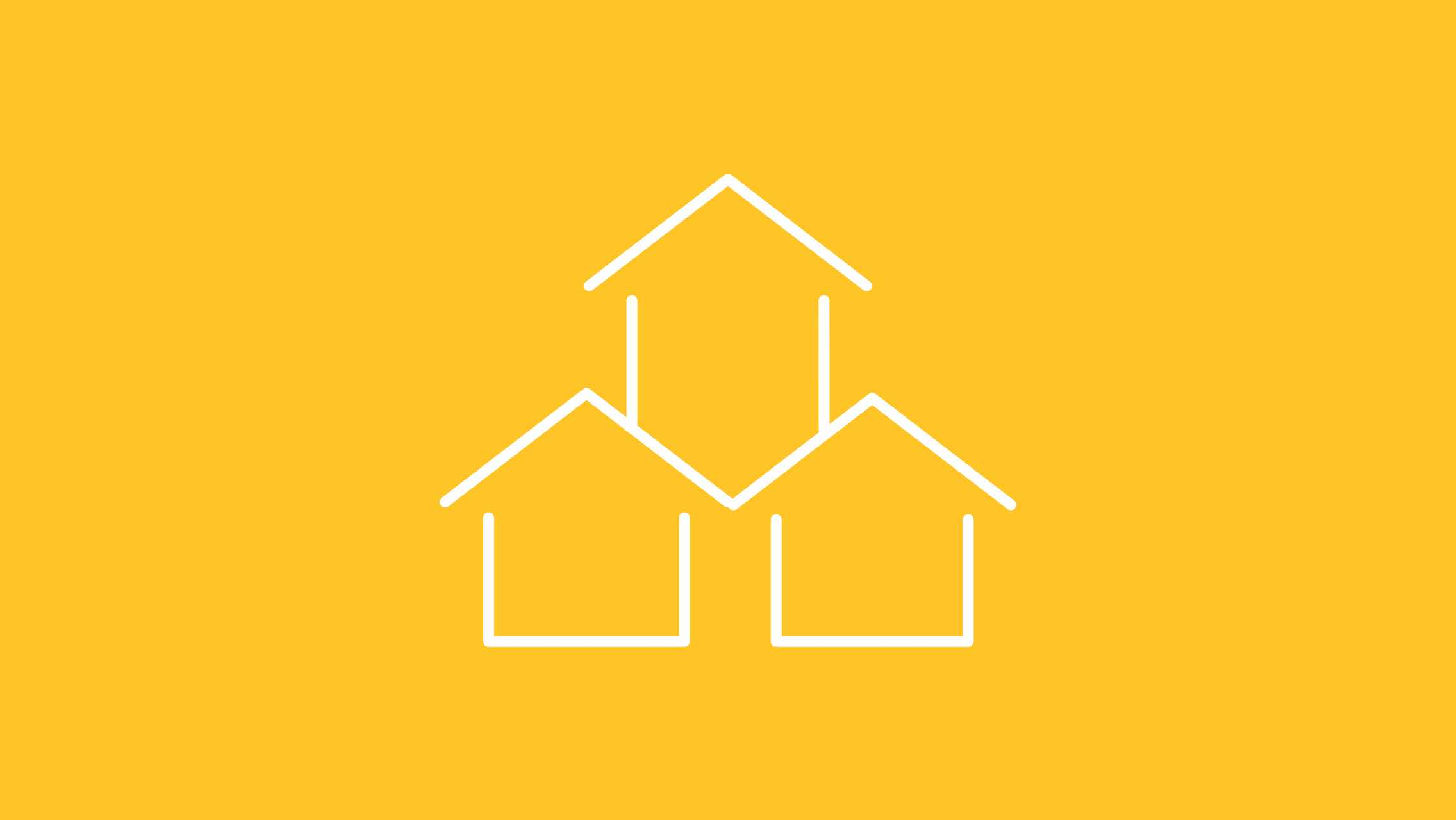 An illustration of three houses on a yellow background.