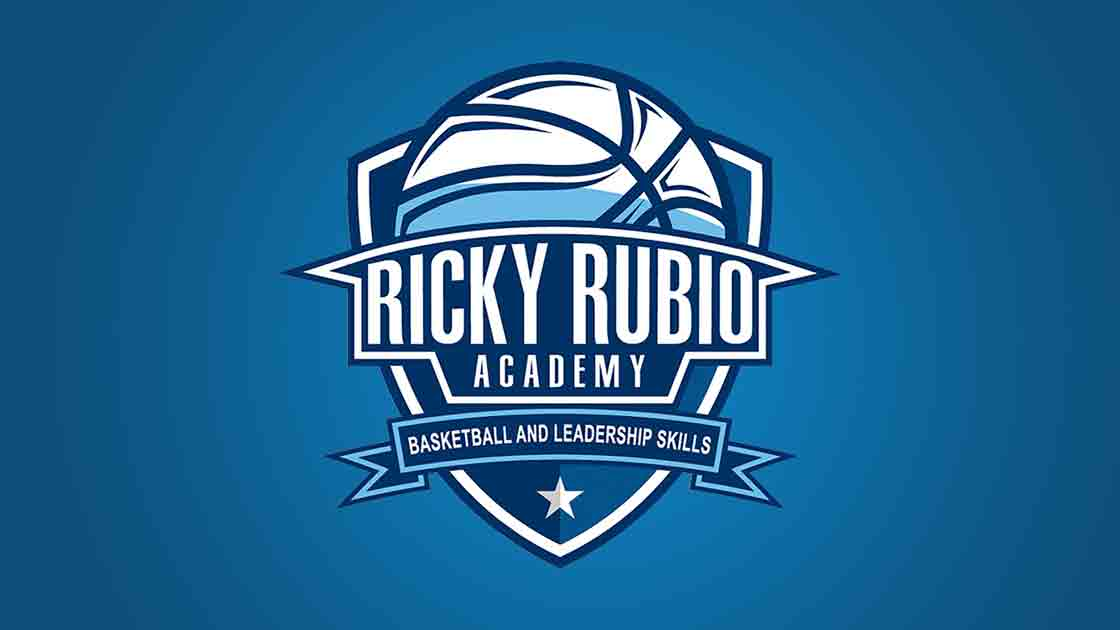 Logo for the Ricky Rubio Academy for basketball