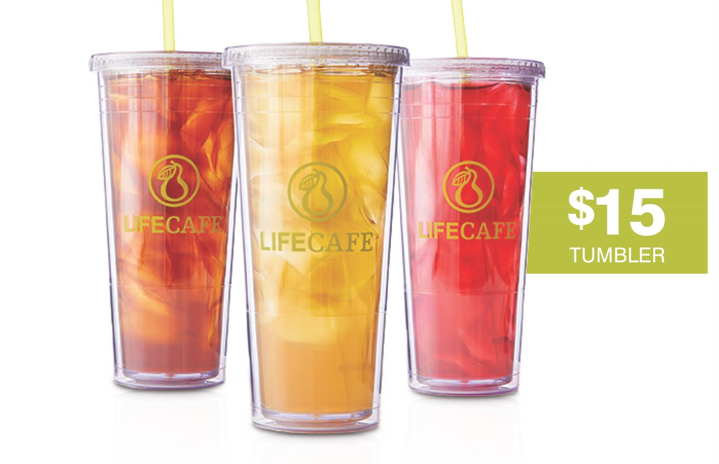 Life Cafe Iced Tea Tumbers in 3 different flavors for $15