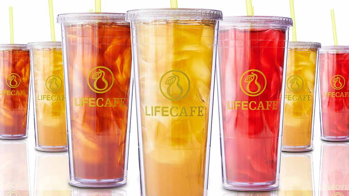 Iced Tea in tumblers lined up.