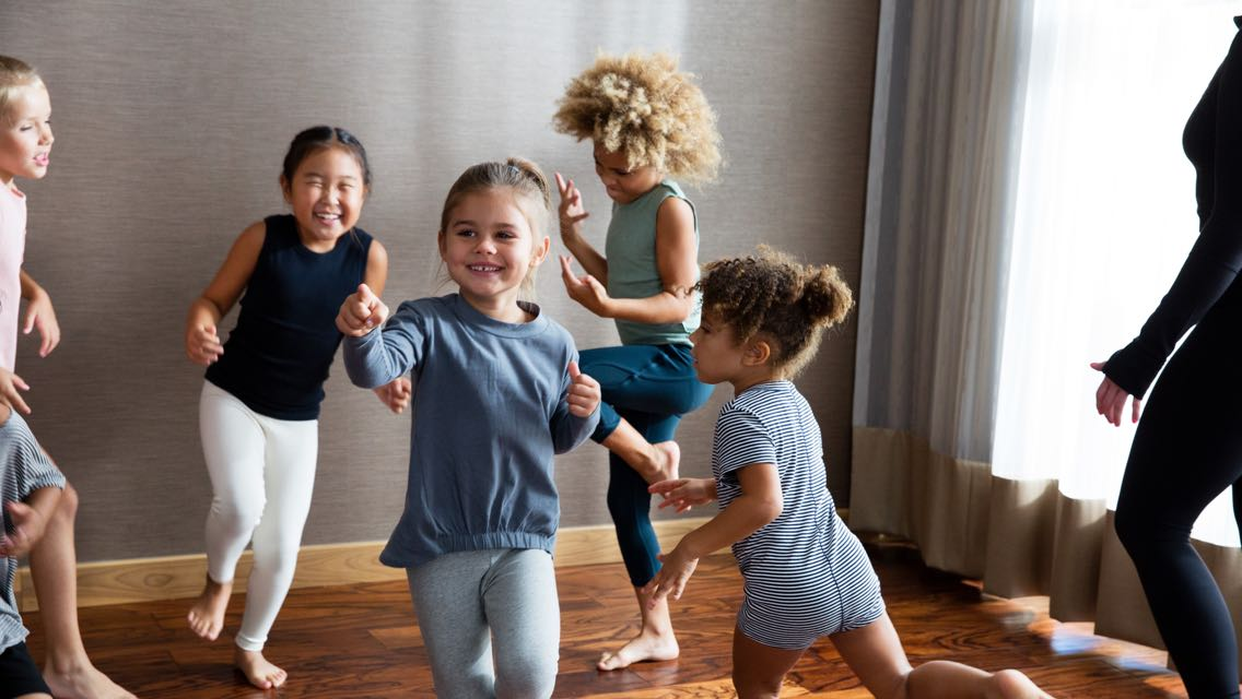 A group of children dancing in a Kids Academy Class