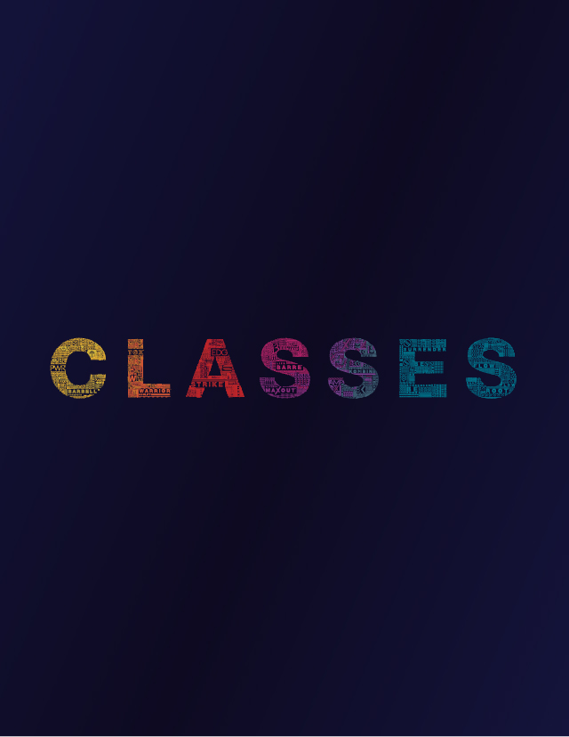 The word classes on a blue background