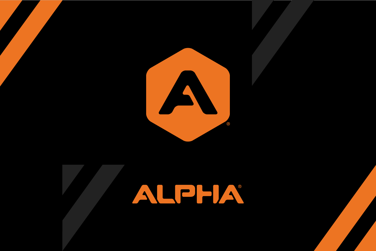 A graphic illustration of the Alpha logo in black and orange