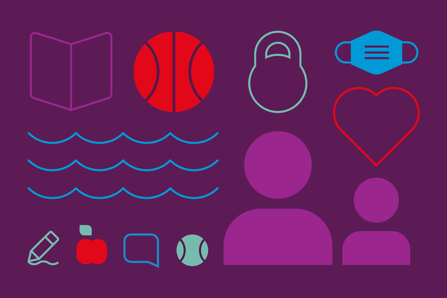 Colorful graphic images in the shape of a basketball, mask, water waves, a book, baseball, kettlebell, apple and people.