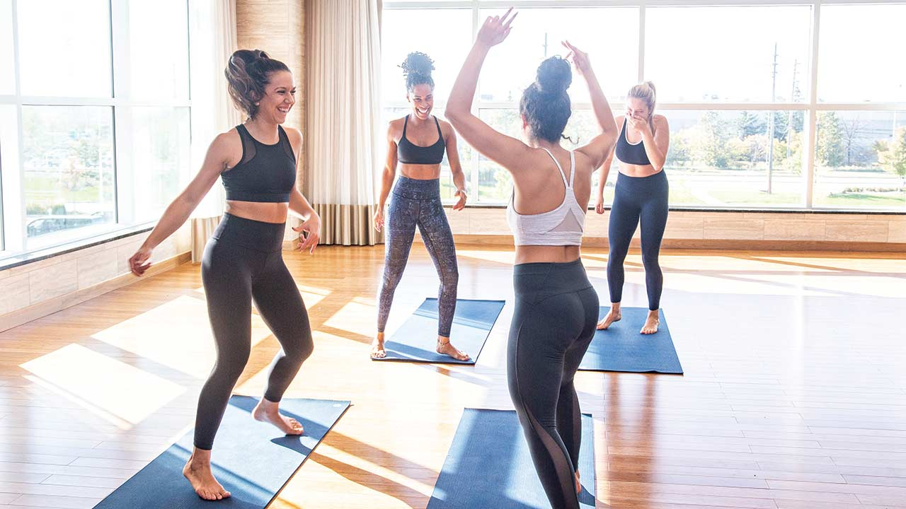A group of women engaging in a fitness class
