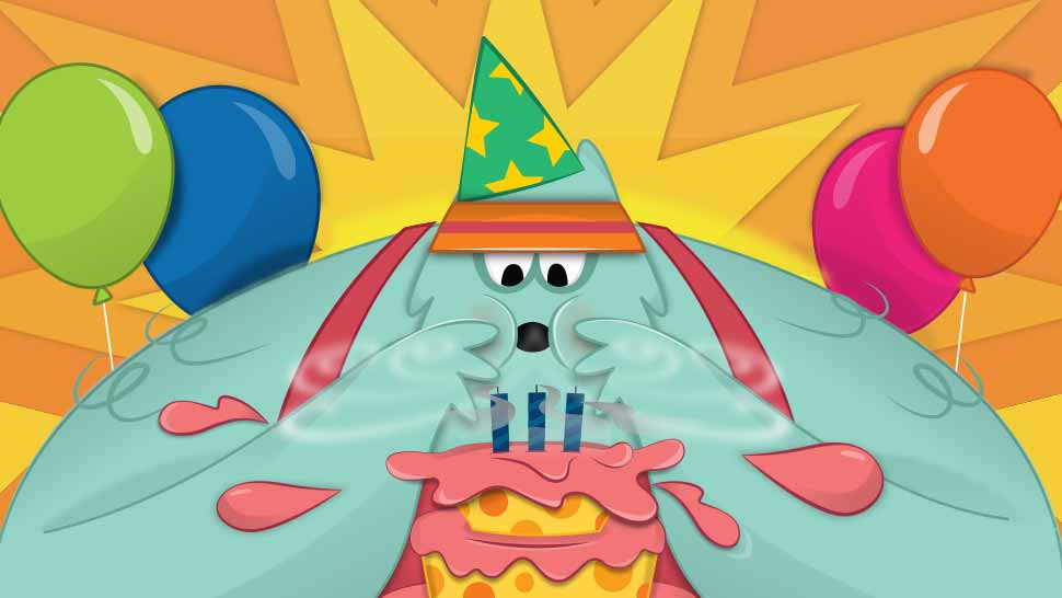 illustration of an animal blowing out birthday candles