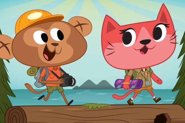 Illustration of animals hiking at summer camp