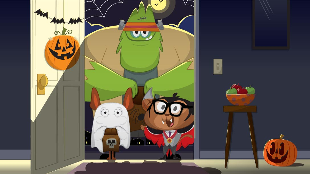 Kids Academy characters Trick or Treating