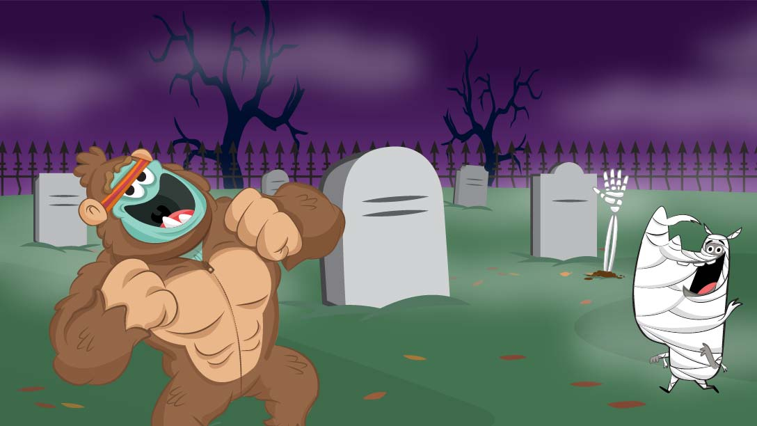 Kids Academy characters at a graveyard