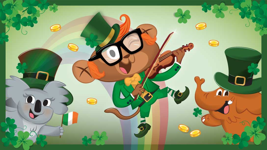 Kids Academy characters on st patricks day