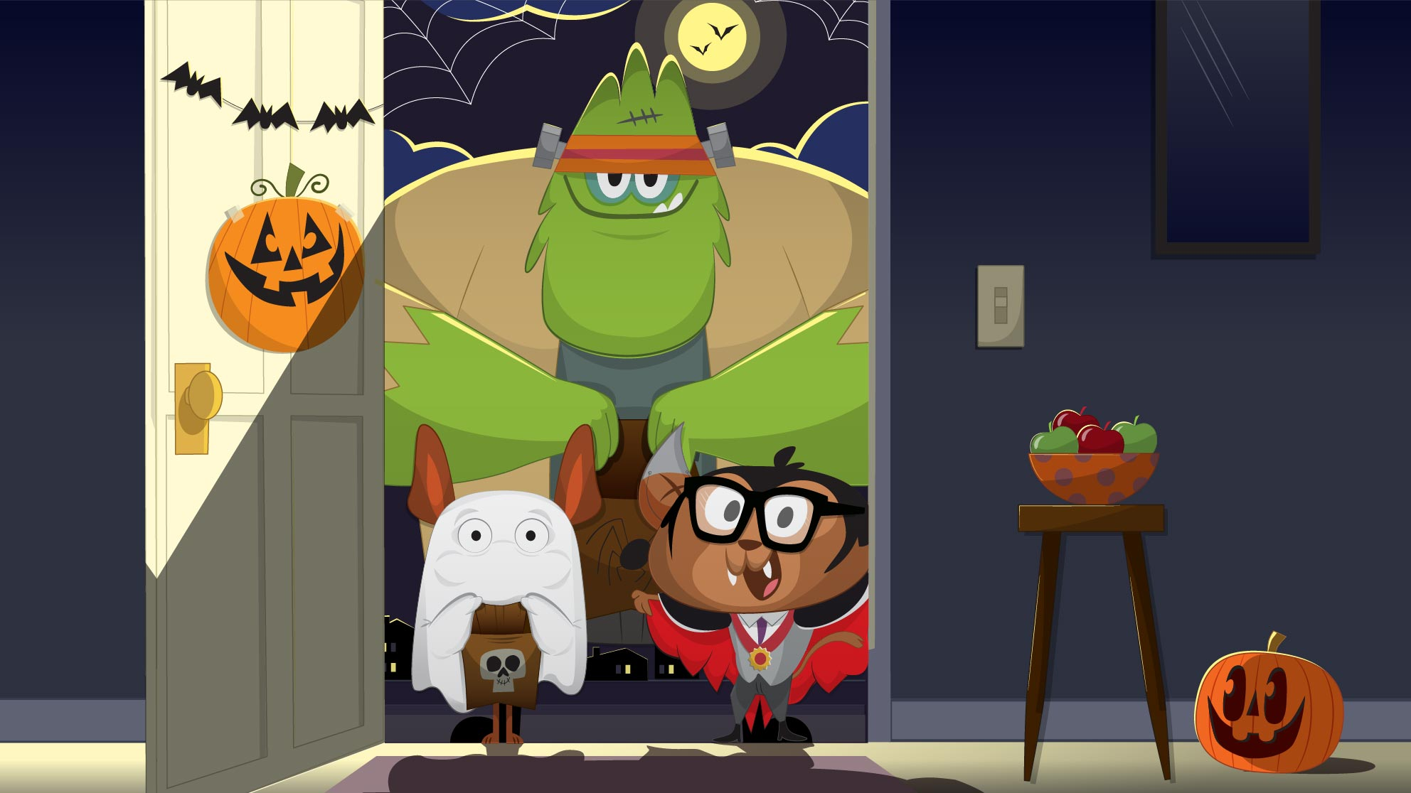 Cartoon Halloween monsters for Life Time Trick or Treat event