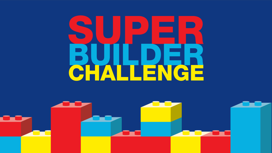 Kids Academy character having fun at the super builder challenge