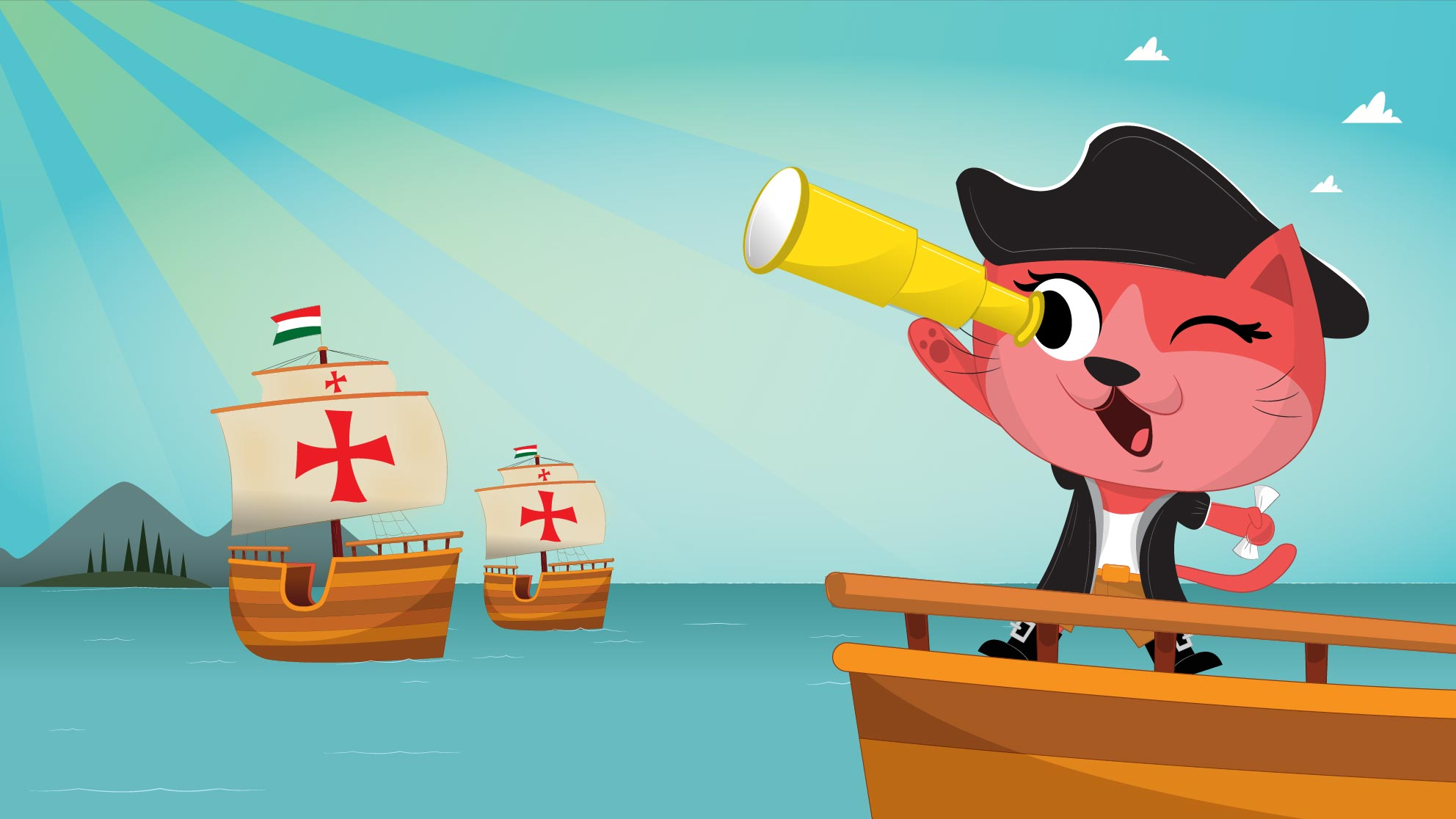 Cartoon cat on a pirate ship for Life Time Columbus Day Out Camp