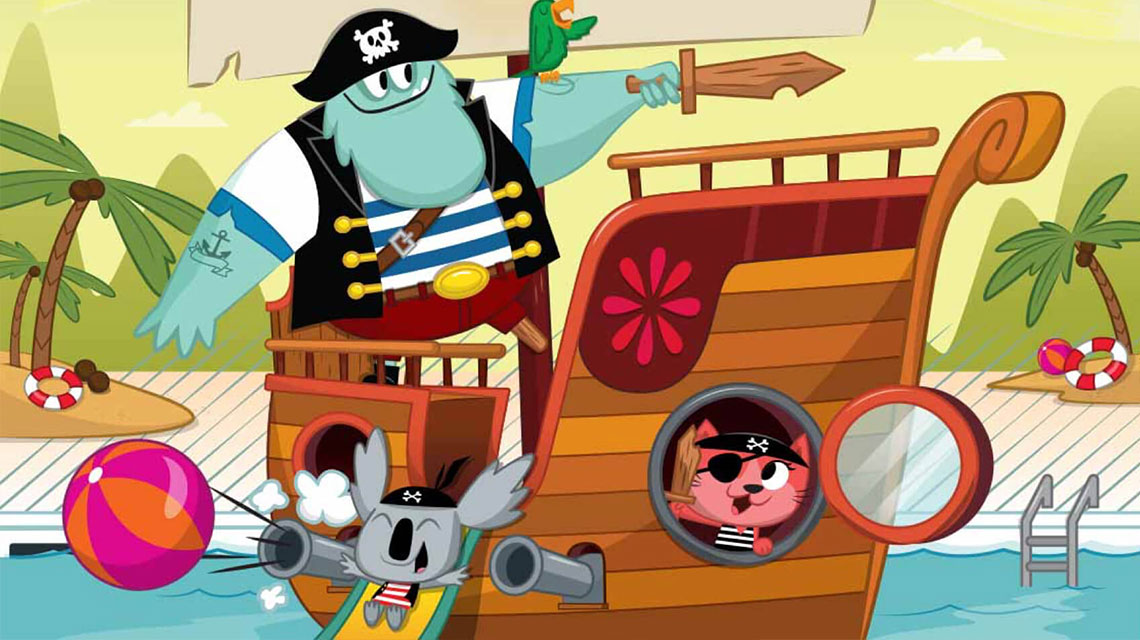 Illustration of animal pirates with a pirate ship