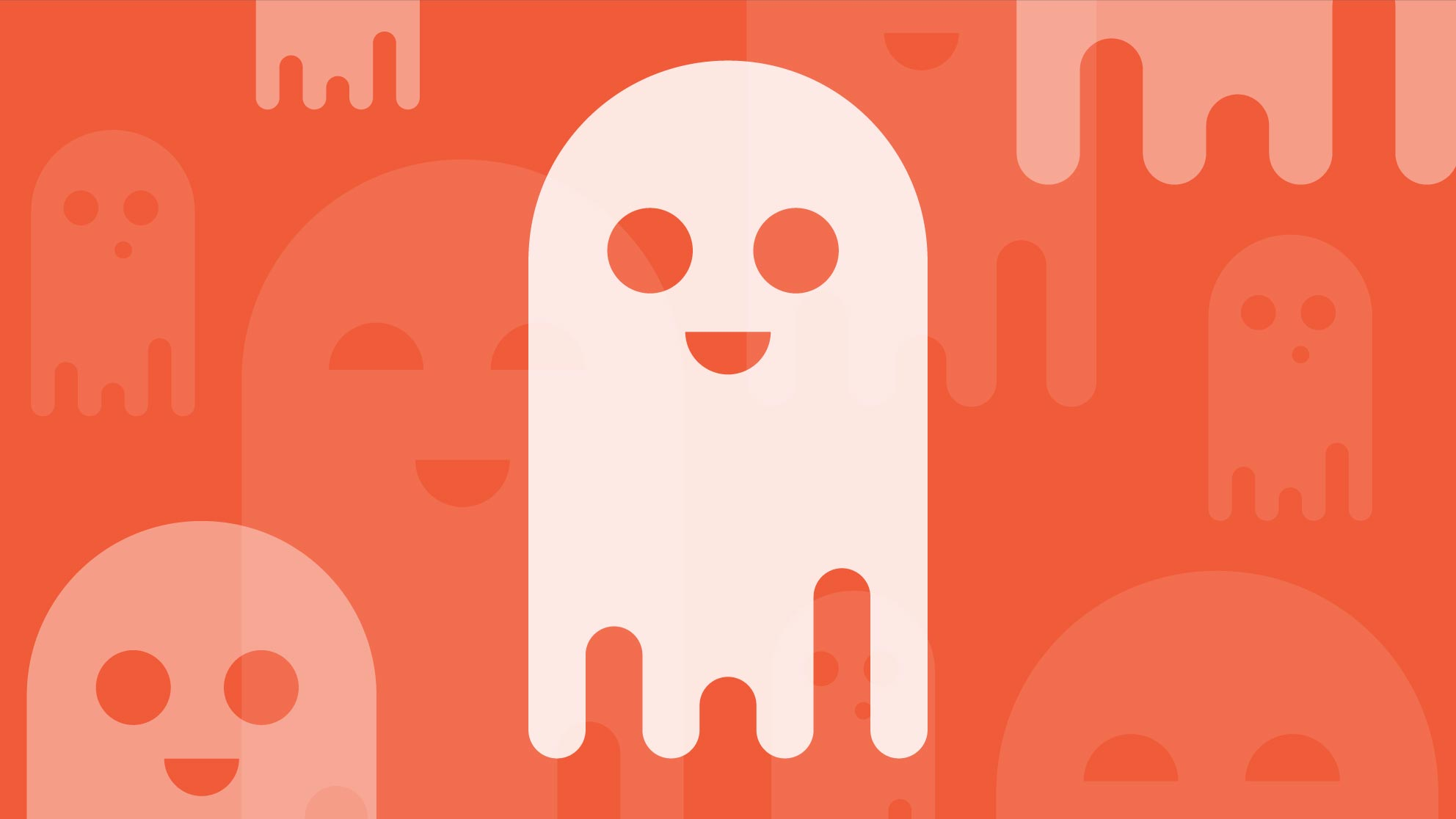 Cartoon ghost on an orange background for Halloween Fun Fest event