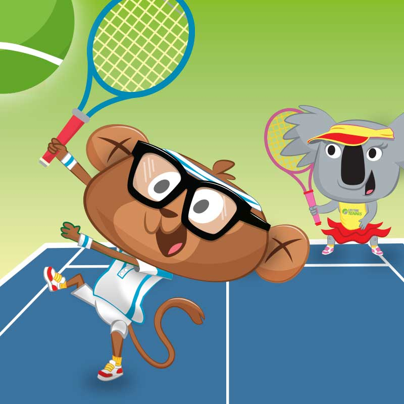 illustration of animals playing kids sports