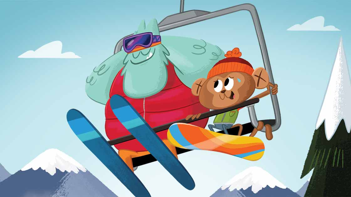 illustration of animals on a ski lift