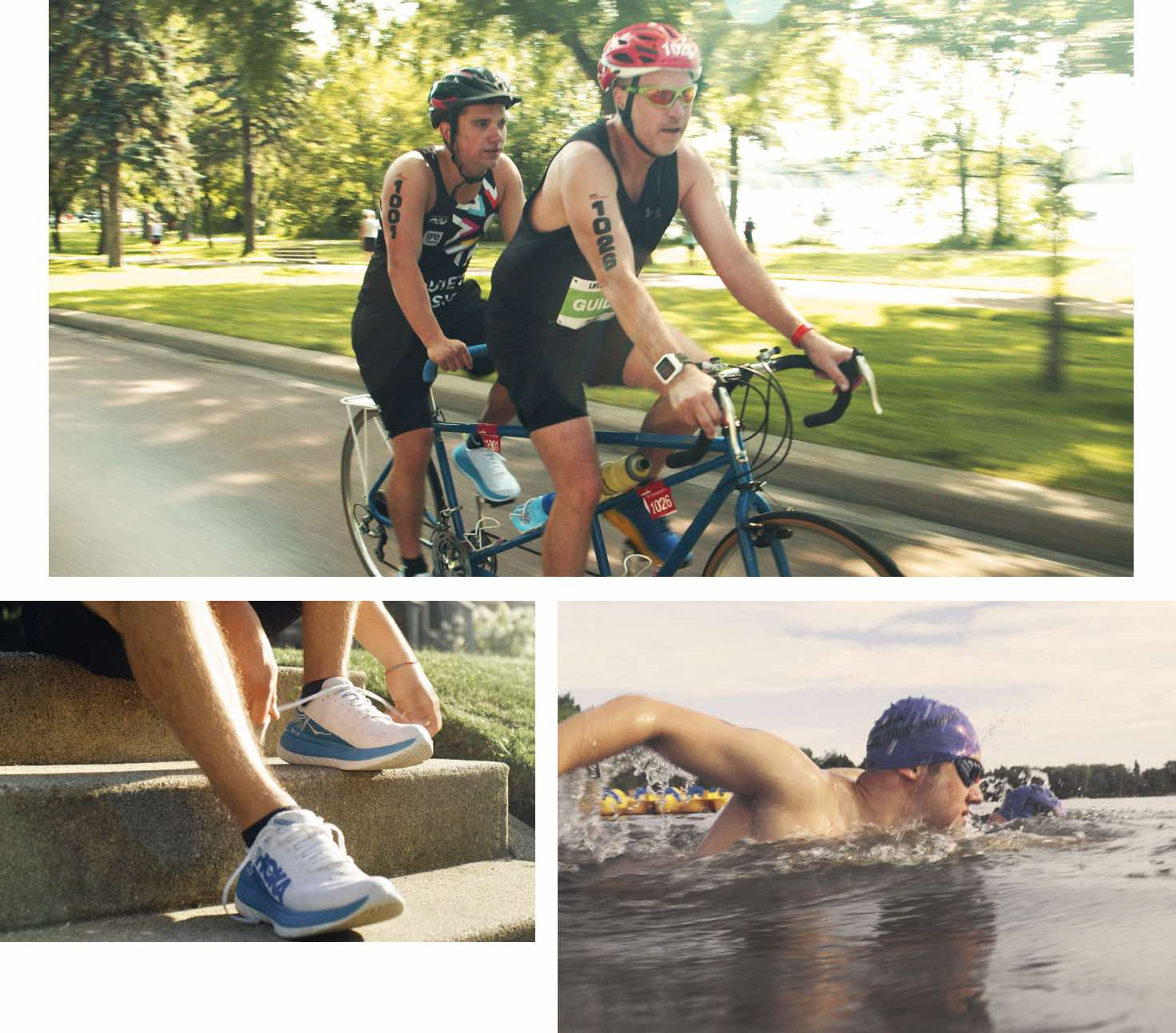 A collage image depicting Louie McGee tying his running shoes, swimming in a lake during a triathlon race and running with his training partner