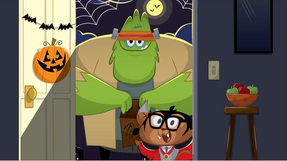 Cartoon monsters trick or treating on Halloween