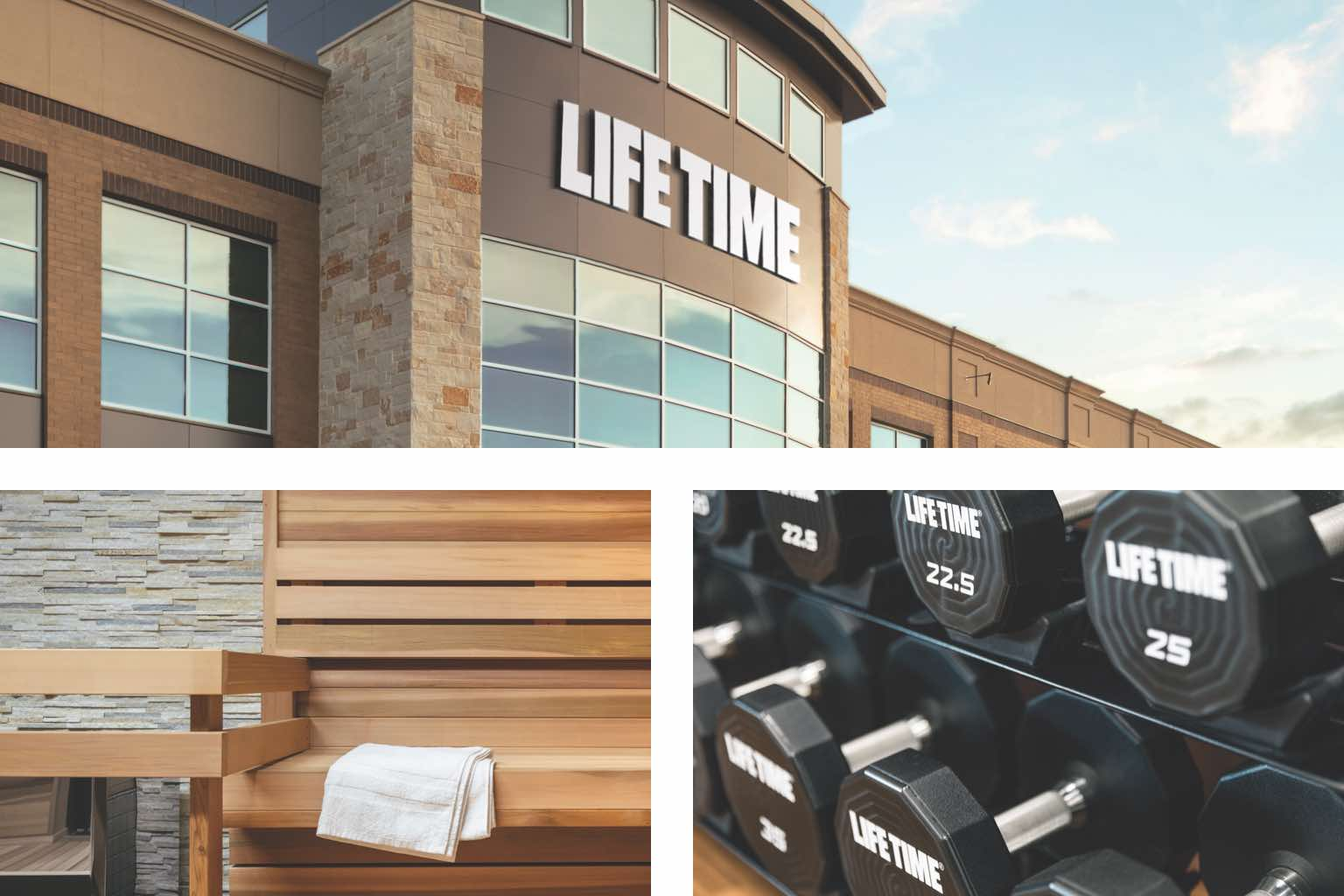 Racks of dumbbells, a sauna and view of the Life Time building exterior
