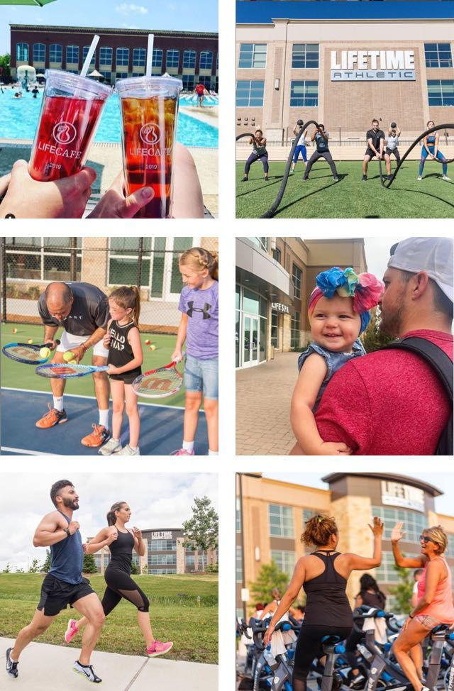 A collage of images — tea tumblers by the pool, people working out outdoors, kids playing tennis and an outdoor cycle class