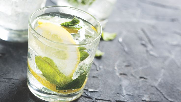 A chilled drink with lemons and mint leaves sits on a table