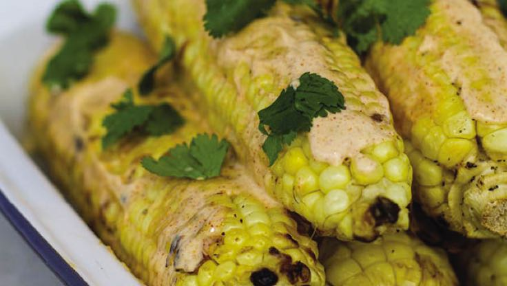 : A plate of give ears of grilled corn covered in cilantro and an Ancho-Lime Mayo sauce