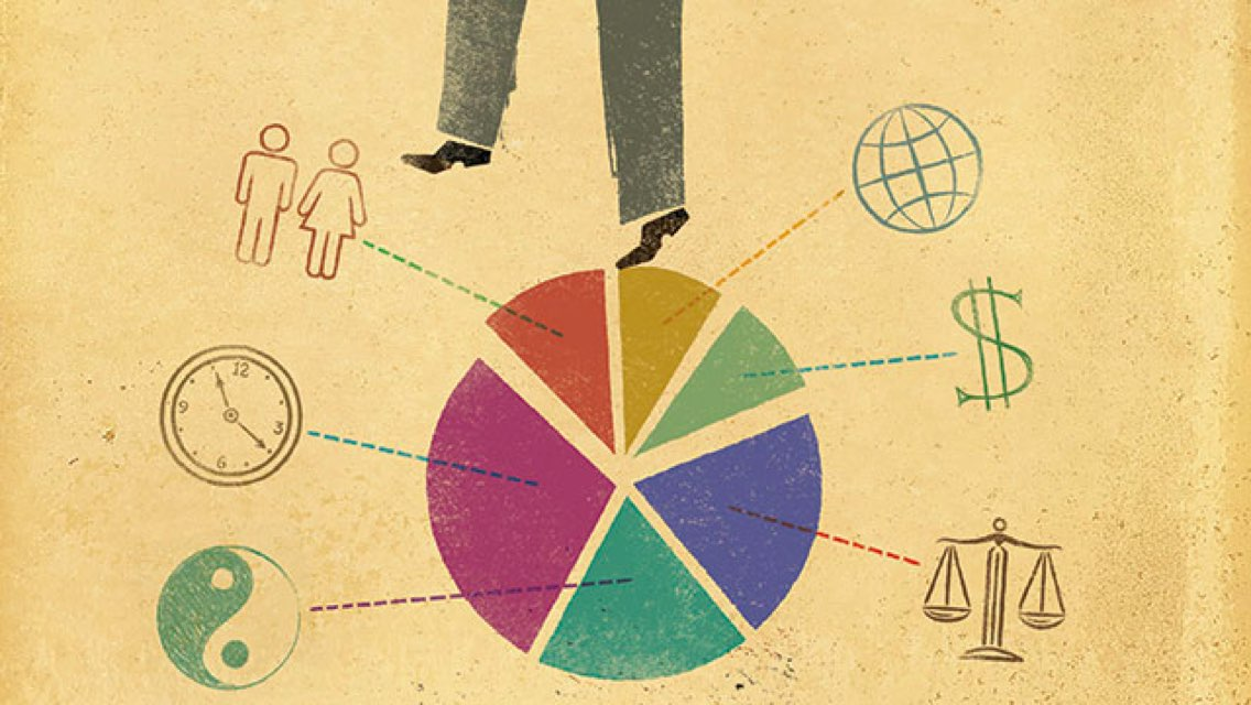 A pie chart illustration with symbols depicting work-life balance