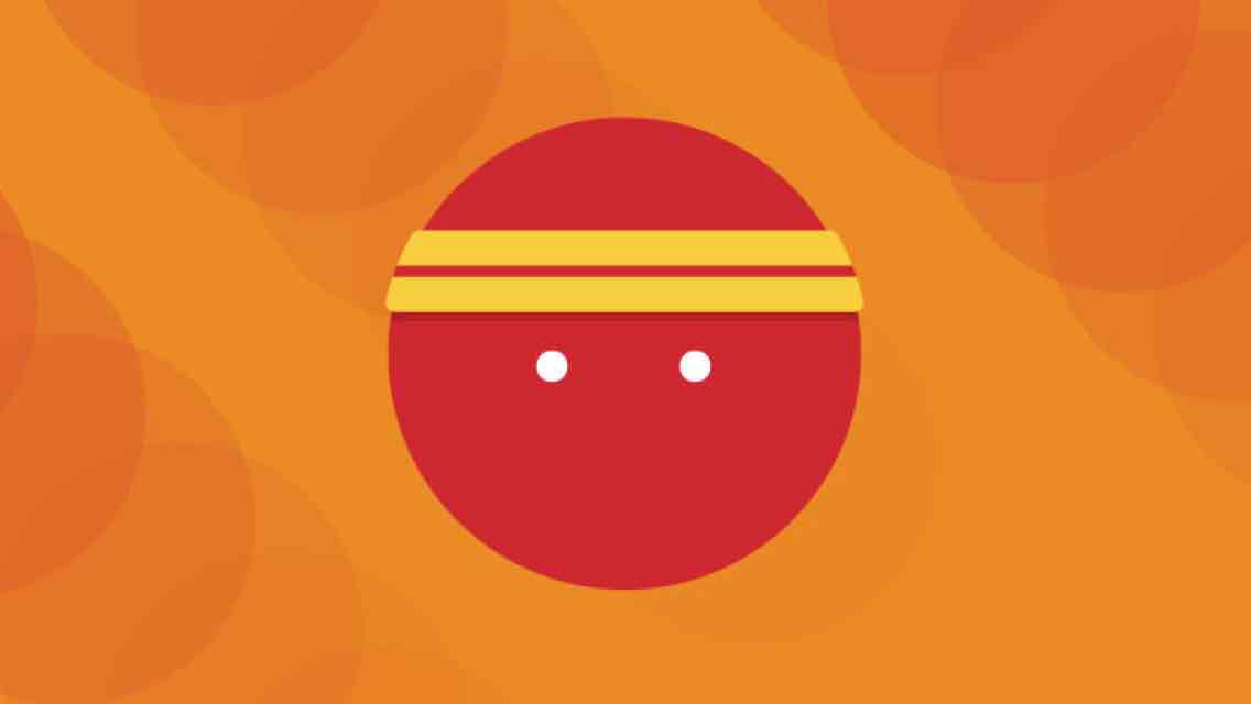 A red circle with two red stripes and two white dots set in the middle of an orange background