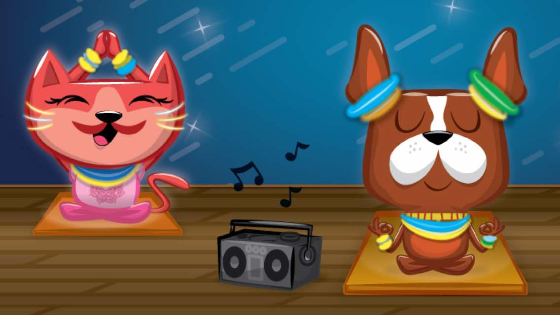 A cartoon dog and cartoon cat sitting on yoga mats with a radio playing music in between them
