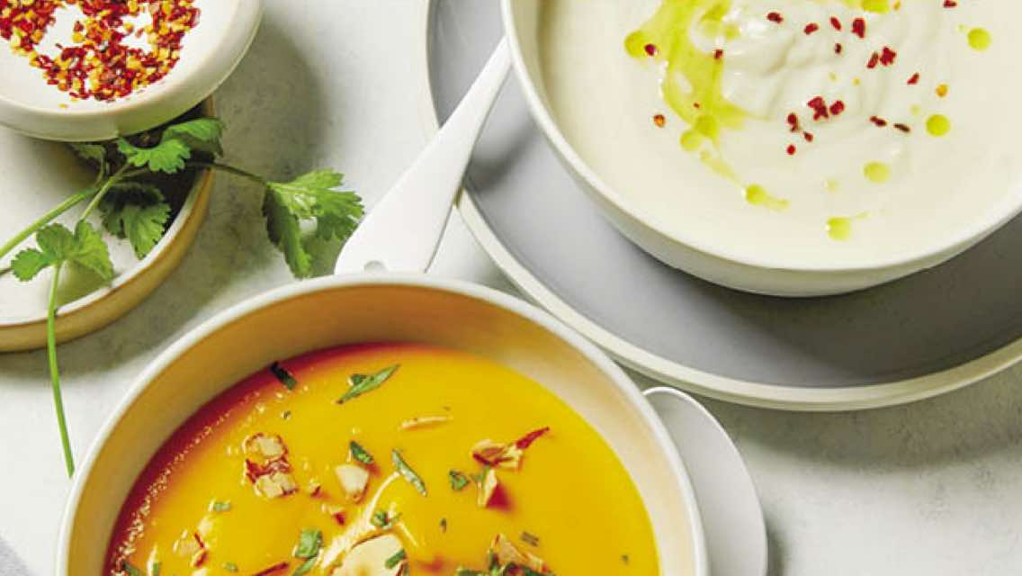 Three different soups that you can freeze.