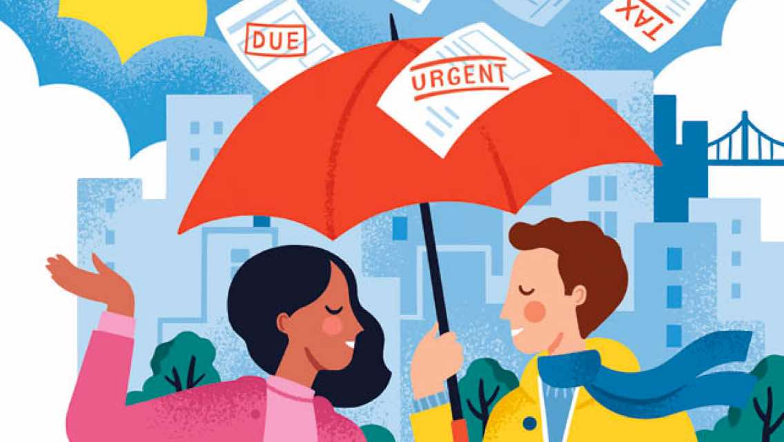Two people holding standing under an umbrella shielding them from financial worries