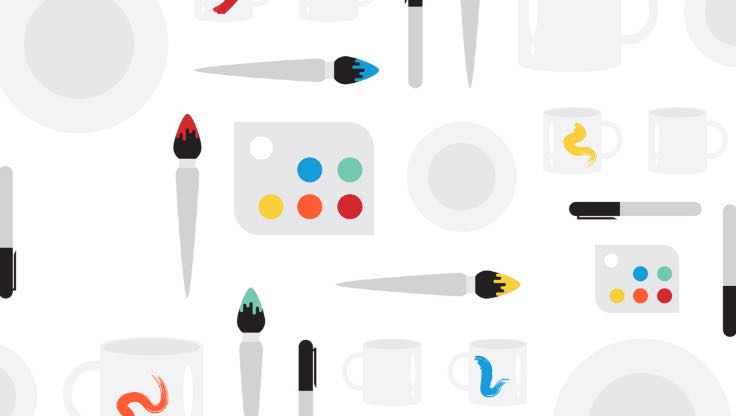 Illustration of paint brushes and paint palettes.