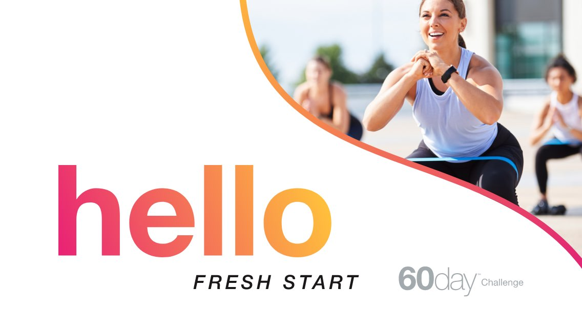 "Colorful ""Hello Fresh Start"" graphic along with photos of healthy food and people working out."