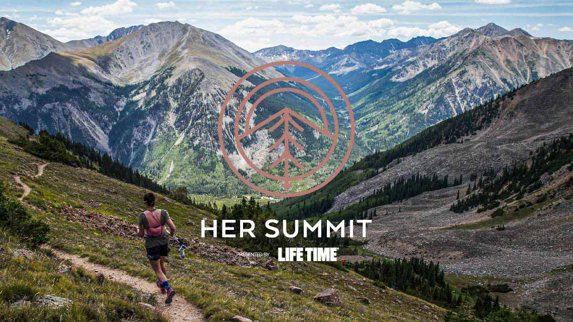 woman running on trail through mountains with HER Summit presented by Life Time logo over image