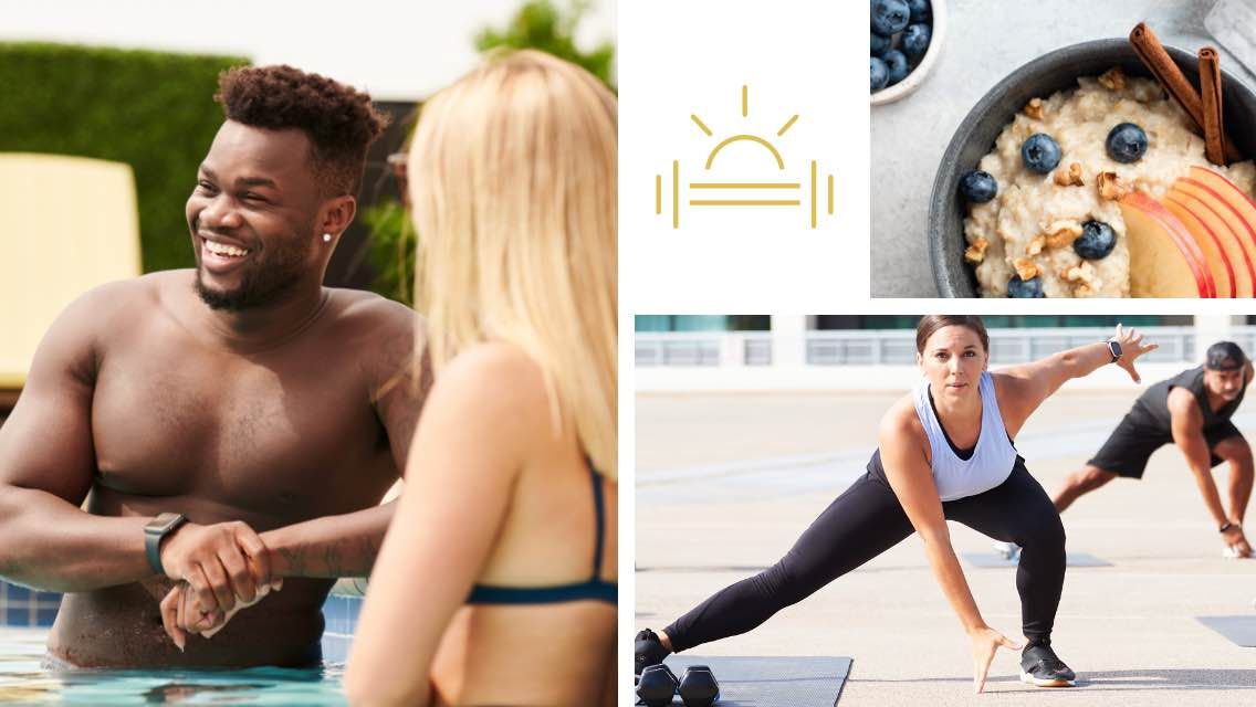 man leaning on the side of an outdoor pool, a woman in an outdoor group fitness class doing a lunge, a bowl of oatmeal, and an illustrative icon of a barbell and sun