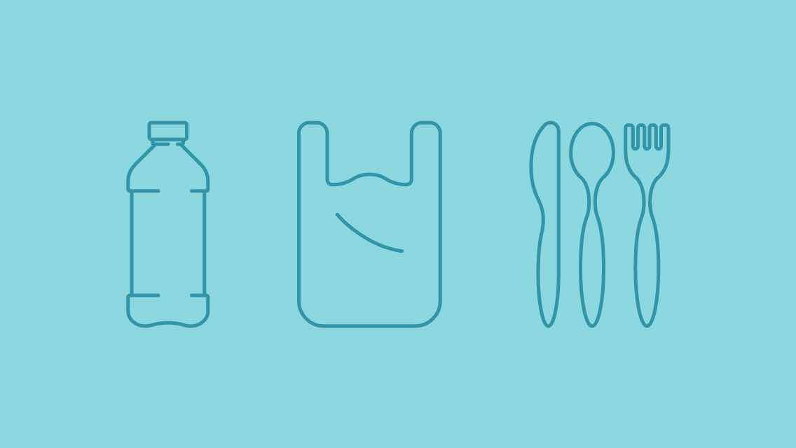 Icons of a plastic bottle and eating utensils