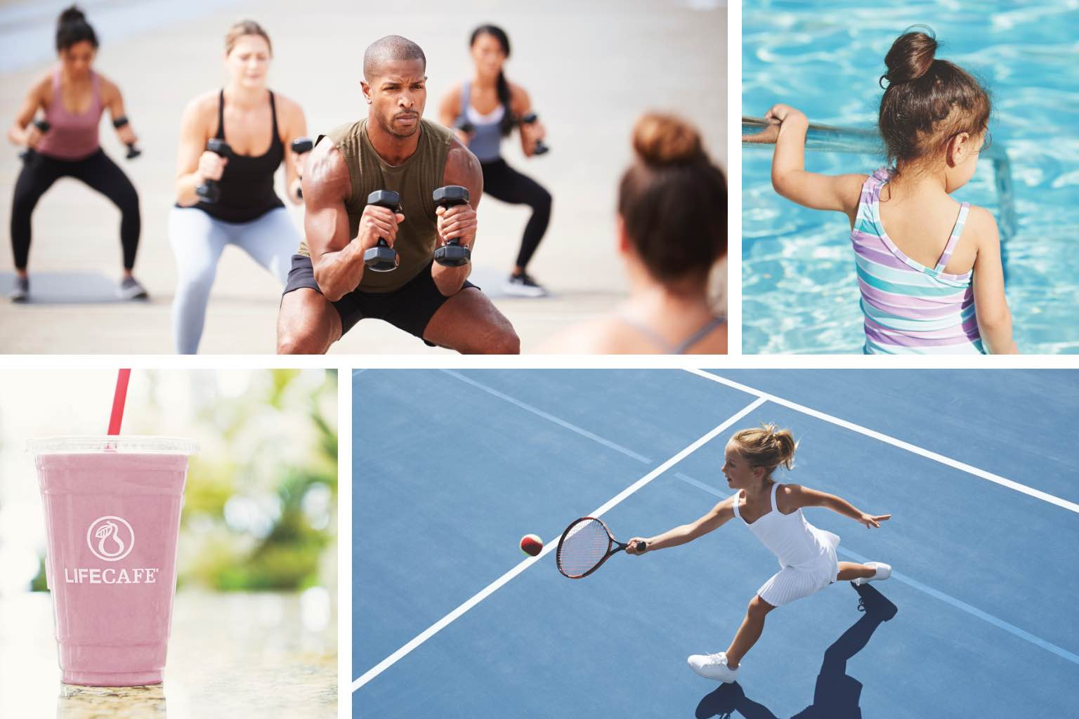 Image collage with four images. The first features an outdoor workout class. The second shows a little girl walking into a pool. The third features a pink smoothie. The fourth shows a woman playing tennis.