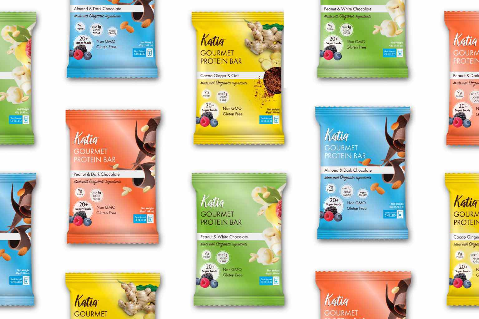 collage of four flavors of Katia bar packages
