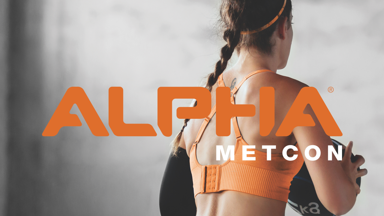 The back of a woman working out, with the Alpha Metcon logo featured